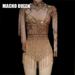 Celebrity Rhinestone Sexy See Through Fringe Bodysuit Drag Queen Costomes  Party Birthday Jumpsuit Singer Stage Wear Performance 2da5328214da