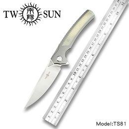 cuchillos kershaw destornillador Rebajas Cuchilla de bolsillo plegable Twosun d2 cuchillos tácticos herramienta de supervivencia cuchillo de caza EDC TC4 Rodamiento de bolas de titanio Fast Open TS81