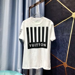 Emblèmes de lettres noires en Ligne-19ss T-shirt luxueux d'été T-shirt à manches courtes imprimé zdl 89