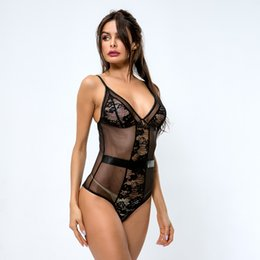 Mujeres calientes calientes online-Sling Lingerie Hot Women Lace Lace Pestañas y broches Crotch Lingerie Sleepwear