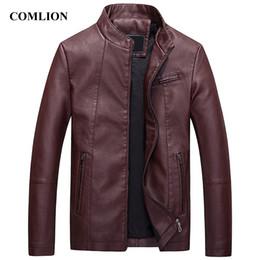 Куртка бизнес-класса онлайн-Mens Winter Bomber Jackets and Coats Bussiness Bomber Jackets Male Jaqueta Masculina Fashion Leather Jacket Mens Coat Red C94