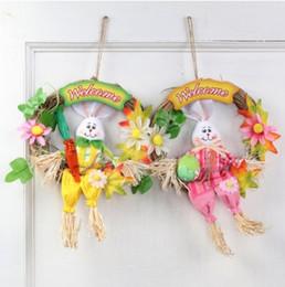 Épouvantail lapin de Pâques décoration porte partie intérieure décoration coloré lapin fait à la main déco pour promotions de Pâques activité scolaire ? partir de fabricateur