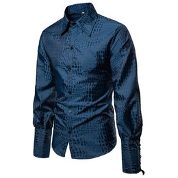 Рукавные манжеты онлайн-MarKyi 2019 fashion desgin long sleeve men dress shirt braided cuffs tuxedo mens  shirts Eu size