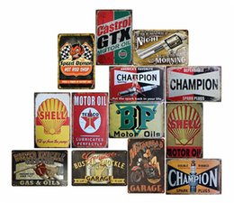 rocce decorative all'ingrosso Sconti Garage Gilmore Shell Champion Motor Oil Retro Teal metal metal signs Wall Art Vintage Tin Poster Cafe Shop Bar Home Decor Metal Painting
