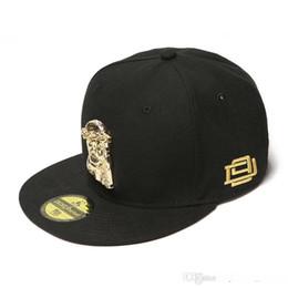 D9 caps online-Tappi Justdon D9 3D Gesù pezzo di metallo regolabile Snapback Hats Hiphop Rapper stile Copricapo Solid del Bill di alta qualità di baseball in nero