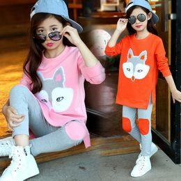 Patrones de camisetas deportivas online-2 unids / lote ropa niños ropa set otoño niños niñas ropa fox patrón T-shirt + pant niñas traje deportivo niñas adolescentes ropa