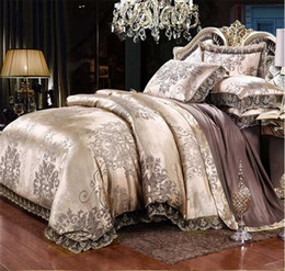 luxury cotton bedding sets Coupons - Gold Silver Coffee Jacquard Luxury Bedding Set Queen King Size Stain Bed Set 4pcs Cotton Silk Lace Duvet Cover Sets