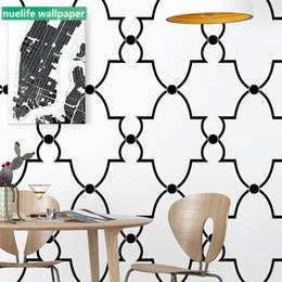 Schwarze weiße moderne tapete online-Moderne unbedeutende Tapete des nordischen Musterschlafzimmer-Wohnzimmers des Arttapeten Fernsehhintergrundschwarzweiss-Plaids geometrischen