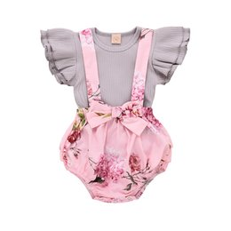 wholesale little girls ruffle shorts Coupons - Baby Girl Floral Dress Infant Flying Sleeves Pink Romper Overall Little Sister Ruffles Tops+Bib Shorts Cute Set