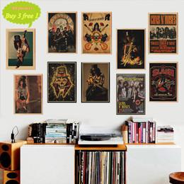 Arma pôsteres on-line-Guns N Roses Música rock Posters Poster Vintage papel adesivo parede Home Decor Kraft cartaz Cafe Bar