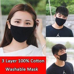 pelota alegre Rebajas 3 capas Máscaras lavable cara contra la gripe polvo reutilizables de protección Topeng Muka cubrir la boca Hombres Mujeres Precio al por mayor