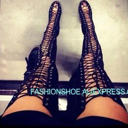 Cuisse sexy découpes hautes à lacets bottes d'été sandales gladiateur daim noir serré sur le genou talons hauts femmes chaussures grande taille 43 ? partir de fabricateur
