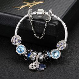 mondcharme armband Rabatt New Charm Armbänder Blue Sky Perlen Armband 925 Silber Armbänder Retro nationalen Wind Sterne Glasur Perlen Mond Diy Schmuck mit benutzerdefinierten