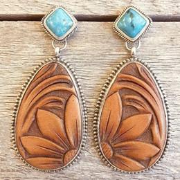 Pendientes tailandeses online-Nueva Retro Thai Silver Turquesa Gotas de agua Pendientes de flores Moda europea y americana Sun Flower Earrings Jewelry