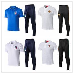 Kits de futbol de italia online-2018/19 Italia polo camiseta pantalones largos fútbol RONALDO chándal paris saint chandal futbol jogging kits de fútbol conjunto