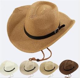 Sombreros de vaquero de los hombres de la trenza de la paja 20pcs con la  hebilla de los sombreros para hombre occidentales de la playa del sombrero  para ... 2b8d3216941