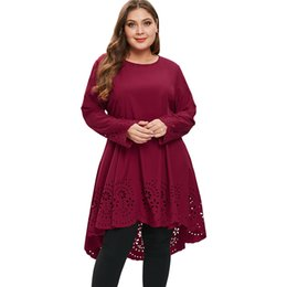 b05d3bbd6e3 Kenancy Plus Size 5XL Laser Cut High Low Casual Loose Dress Women Big Size Long  Sleeve Cut Out Dresses Ladies XXXXL XXXL XXL