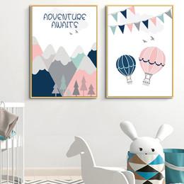 décor de salle de montgolfière Promotion Rose Hot Air Balloon Affiches Et Gravures Pépinière Mur Toile Peinture Enfants Affiche Bébé Fille Chambre Décor Mur Photos Peinture