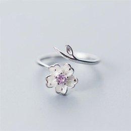 dual-chip-handys Rabatt 925 Sterling Silber Kirsche Öffnung verstellbarer Ring weiblichen koreanischen Modetrend Silber Schmuck Öffnung Ring einfach kreativ
