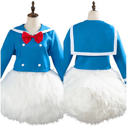 Gli abiti di carnevale uomini online-Uniform costume cosplay adulti Completo blu Outfit Halloween Carnival Party Fancy Dress donne degli uomini