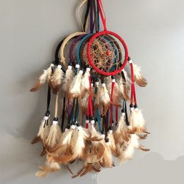Ornamenti d'arte a parete online-Manuale Dream Catcher Plume Wind Chime circolari del Art Widget Feather Crafts ornamento appeso pendenti di parete del regalo delle decorazioni 4CP C2
