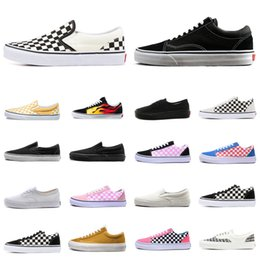 Scarpe fashion club online-vans old skool baskets Designer Shoes Old Skool tela timore di Dio Uomini Donne Sneakers Triple Black White Yacht Club SCACCHIERA Moda fannulloni pattini casuali