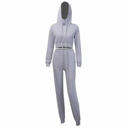 Frauen-baumwoll-jogging-sets stücke online-Frauen Herbst Zweiteiler Lässige Hellgrau Hoodies Croped Top-Bleistift-Hosen-elastische Anzug Jogging Cotton Sweatsuit mgUj #