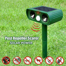 Giardino repellente online-Solar Powered Ultrasonic Repeller animale Chaser uso esterno giardino repellente del gatto cane Fox di Sonic deterrente scarer repellente