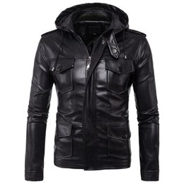 Male Leather Jacket Slim Fit Coat Men Stand Collar jaqueta PU Coats Biker Jackets Casual Motorcycle Faux Fur S 5XL Jacket Fleece
