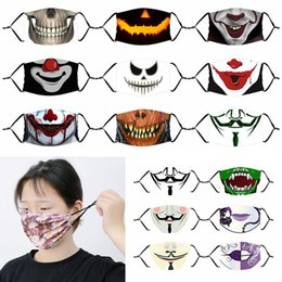 2021 milchfilter Milk silk fabric Halloween face masks clown skull print mask dustproof breathable with interlayer adjustable with 1pcs PM2.5 filter XD23757