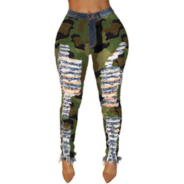 2020 pantalon camouflage déchiré Mode Camouflage Jeans Street Style Ripped trou Skinny Crayon Pantalons Jeans Femmes Casual Mid taille promotion pantalon camouflage déchiré