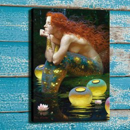 Pinturas da sereia on-line-Art Pintura John William Waterhouse Redhead, Mermaid Home Decor pintado à mão HD Pinturas Imprimir óleo sobre tela Wall Art Pictures 200720