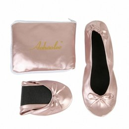 Ballerines pliables en Ligne-Femmes Chaussures Flats Portable Fold Chaussures Up Ballerine Roll Up Pliable Ballet After Party Bridal Wedding Party Favor NBAE #