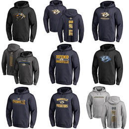Sudadera con capucha gris para mujer online-Venta caliente personalizado para hombres para mujer niños Nashville Predators Barato Top Bordado Logotipos Black Grey Hockey Hockey Sudaderas con cualquier Nameay No.