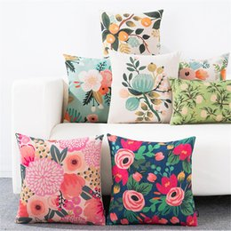 Travesseiros da sala de estar on-line-Throw Pillow Almofada cobertura vegetal Flor Escritório Lombar Pillow Sofá decorativa Pillow Case Cover for Living Room Decoration