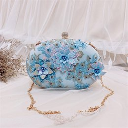 Sacolas da noiva do casamento on-line-luxuoso elegante do dia do casamento ABER 2020 Female diamante Pérola Bolsa de cristal Flores Evening Bag Bride Bolsa da embreagem MN1378