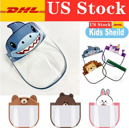 Kinder niedliche maske online-US-Stock-PET Kids Gesichtsschutzschild Netter Sharp Cartoon Full Face Maske Isolation Transparent Anti-Fog-Maske Designer Kinder Masken fy803