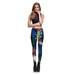 2020 diamantdruckgamaschen Leggings Probe Frauen Diamant-Farben-Stitching Leggings Digital Print Hosen gestreifte Stretch Pants Plus Size Dropship rabatt diamantdruckgamaschen