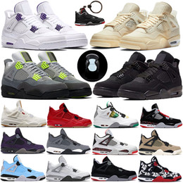 Schuhe für sport online-Nike Air Jordan 4 Retro Bred 2019 What The Basketball Shoes 30. Jahrestag Laserschlick Red Splatter Singles Day Lightning Reines Geld Oreo Men 4 Sneakers 40-47