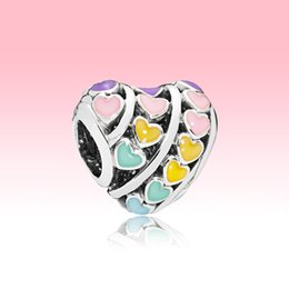Encantos del arco iris online-Colorful Rainbow Love Heart Hearms Bangle Pulsera haciendo accesorios para Pandora 925 Cuentas de plata esterlina Charm con caja original