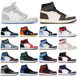 2020 sapatos de gravata branca nike air jordan retro 1 dior off white Mens tênis de basquete 1s high og jumpman Obsidian Royal Toe Light Smoke Grey UNC Patent Satin Black men women trainers sports sneakers sapatos de gravata branca barato