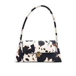 borse a tracolla di estate Sconti Womens Baguette Forma Borse Estate Cow Print Tracolle Trendy Retro Borse Zipper Vintage Female Bag
