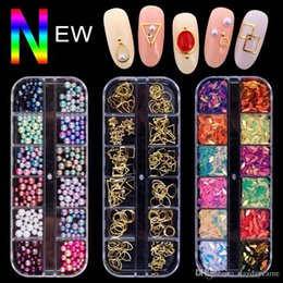 3d rivet fall online-Danceyi 5 Case / set Verschiedene 3D Nail Art Strass Perlen Metall Rivet Pailletten Gems DIY Fertigkeit-Schmucksache-Nagel-Kunst-Dekoration