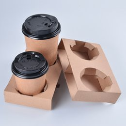 Take Out Kraft Paper Cup Holder Clip Disposable Coffee Drink Tray Base With Handle For 2 Cup Party Supplies SK801 Children S Birthday Party Supplies