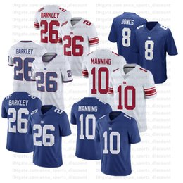 T-shirts géants en Ligne-2020 Football américain Giants uniformes 26 Barkley 10 Manning 8 Jones Custom Series Respirant Quick Dry Sport Casual T-shirt