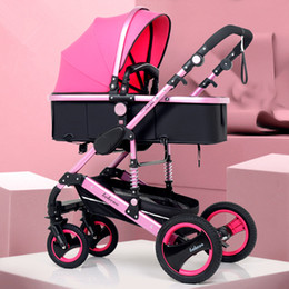 passeggini rosa per neonati Sconti Belecoo Lightweight Luxury Baby Stroller 3 in 1 Portable High Landscape Reversible Stroller Hot Mom Pink Travel Pram