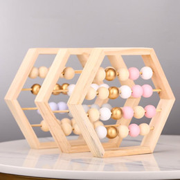 Abacus giocattoli online-Nordic Natural Style Abacus legno con perline artigianato bambino Early Learning giocattoli educativi scandinava Stile Kids Room Decor