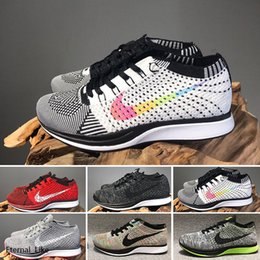 chaussures tissées mens casual Promotion Nike Flyknit Racer Be True N11-4 Zoom Mariah Fly Racer 2 Femmes Hommes Athletic tout noir hococal rouge vert Chaussures Casual tissage Zoom Racer Sneaker Formateurs