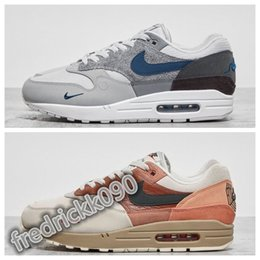 Braune plaid schuhe online-2020 NIke air max 1 87 arrive 1s men and women sneakers running shoes City Pack 1 London Amsterdam Trainers blue and brown shoes