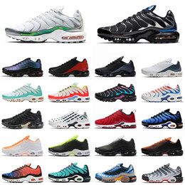 Scarpe da tennis verniciate online-nike air max tn plus scarpe da uomo outdoor sneakers nero bianco metallizzato hyper blue throwback future spray paint scarpe da corsa traspiranti trainer